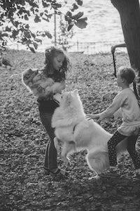 dog lead jumping puppy girls
